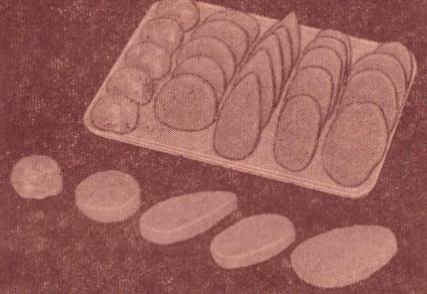 Рис. 15. Изделия из котлетной массы (слева напра во): тефтели, биточки, котлеты, зразы, шницель
