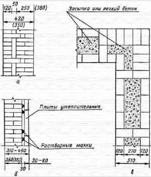 а - вертикальное сечение стены с воздушным зазором; б - вертикальное сечение стены с утеплителем; в - план стены колодцевой кладки с заполнением легким бетоном.