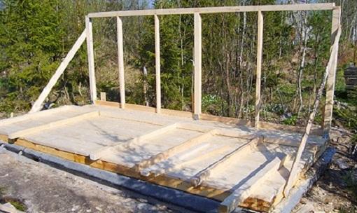 Строительство каркасного дома нужно начинать с укладки пола. Доски крепят к фундаменту при помощи специальных анкерных болтов.