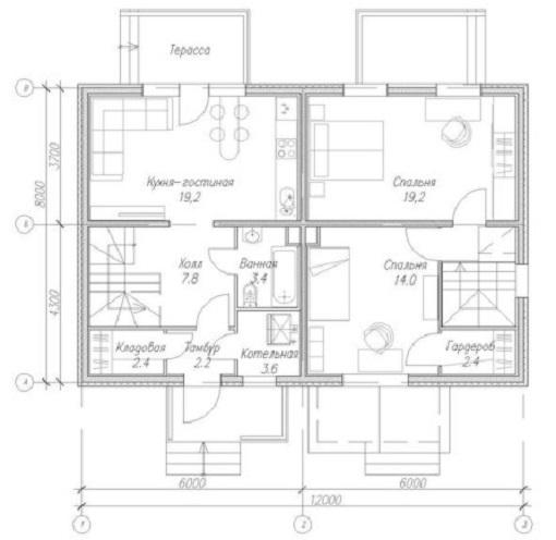 На фото – план дома на две семьи