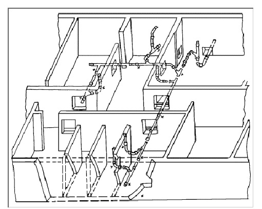 Схема разводки трубопроводов канализации в подвале секции жилого дома