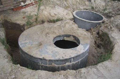 Установленные в землю бетонные кольца