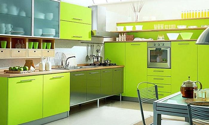 Интерьер кухни цвета лайм