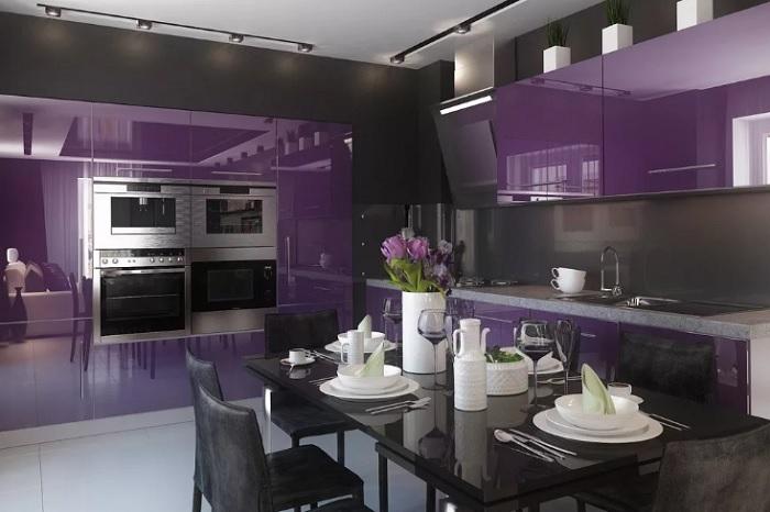 Фиолетовая кухня. Фиолетовый интерьер кухни